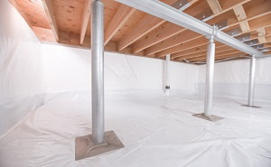 Crawl space structural support jacks installed in Grantsburg
