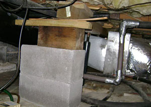 a poorly designed crawl space support system installed in a Two Harbors home