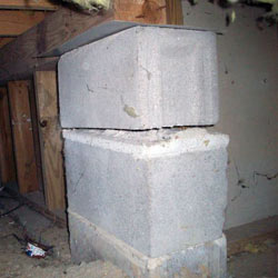 Collapsing crawl space support pillars Pequot Lakes