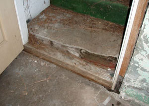 A flooded basement in Cumberland where water entered through the hatchway door