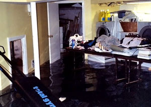 A laundry room flood in Milaca, with several feet of water flooded in.