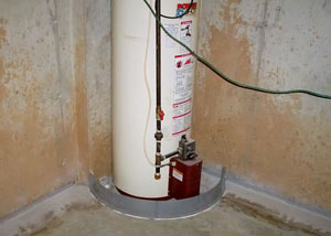 A water heater in Ladysmith that's been protected by the FloodRing® and a perimeter drain system.