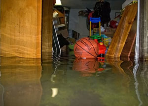 A flooded basement bedroom in Rush City