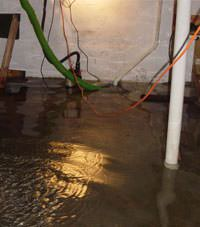 Several feet of floodwaters in a Hinckley basement