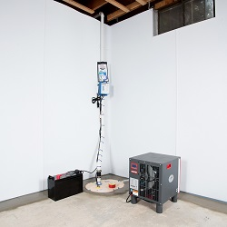 Sump pump system, dehumidifier, and basement wall panels installed during a sump pump installation in Milaca