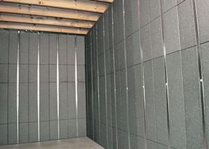 SilverGlo™ insulation and metal studs making up our Basement to Beautiful panels.  Installed in Grand Rapids.